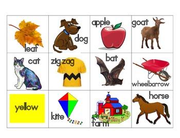 Fall Beginning Sounds Letter Bingo