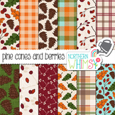 Fall Berries and Pine Cones Digital Paper for Crafts and C