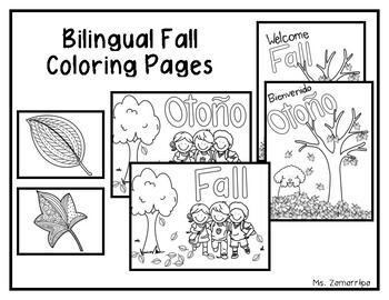 Fall Bilingual Coloring Pages (Spanish/English)