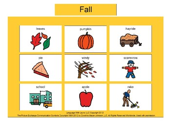 Fall Bingo! Single Board [speech therapy and autism]