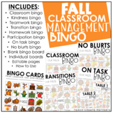 Fall Classroom Management Bingo | Game | Plan