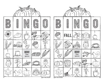 Fall Bingo Cards