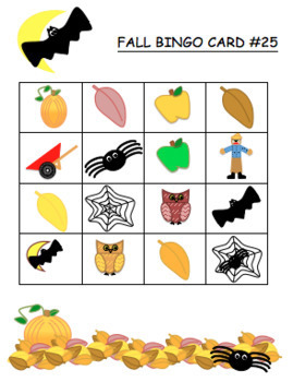 Fall Bingo Cards-Printable! Great for Fall Party! (Also indoor recess & subs)