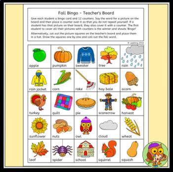 Autumn / Fall Bingo Game - Fall Activity