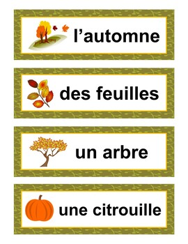 Fall Bingo Game and Word Wall in French: Vocabulaire de l'Automne