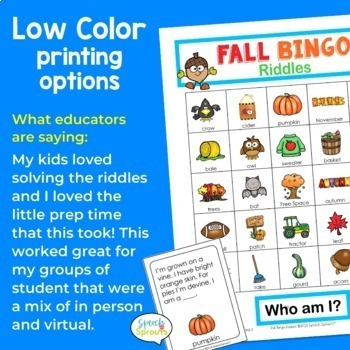 Fall Bingo Riddles Speech Therapy Activity