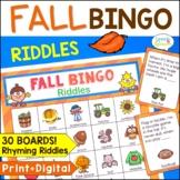 Fall Bingo Riddles Speech Therapy Activity