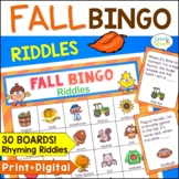 Fall Bingo Riddles Game Speech Therapy Activity