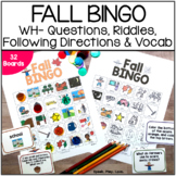 Fall Bingo Speech Therapy Game   WH Questions, Riddles, 2-
