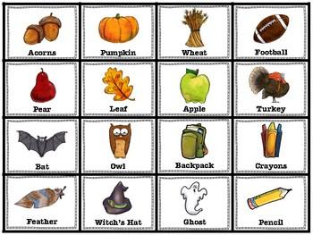 Fall Bingo (basic vocabulary practice)