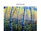 Fall Birch Tree Watercolor Art