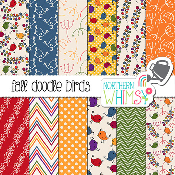 Fall Bird Digital Paper for Crafts and Classroom Decor