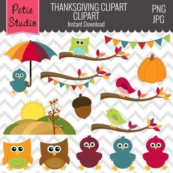 Fall Birds Clipart // Fall Trees Clipart // Tree Branch Clipart - Fall119