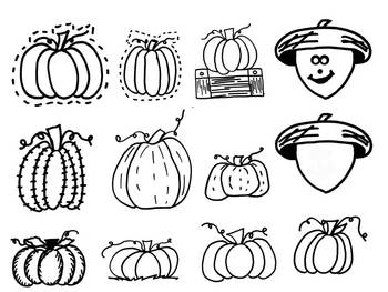 Fall Blackline Clipart by Learning 4 Keeps Design!