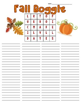 Fall Boggle Board