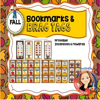 Fall Bookmarks and Brag Tags Freebie - Student Incentives
