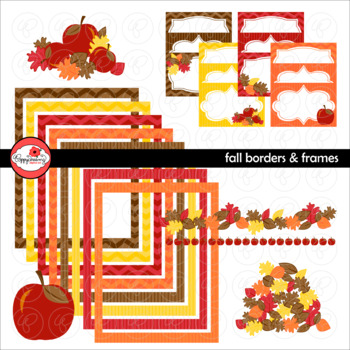 Fall Borders and Labels Digital Borders Clipart by Poppydreamz