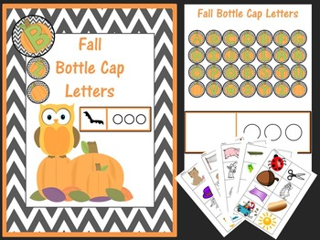 Fall Bottle Cap Letters and Short Vowel Word Cards