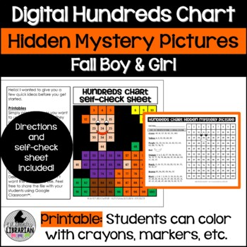 Fall Boy and Girl Pumpkin Patch Hundreds Chart Hidden Picture Activity Set