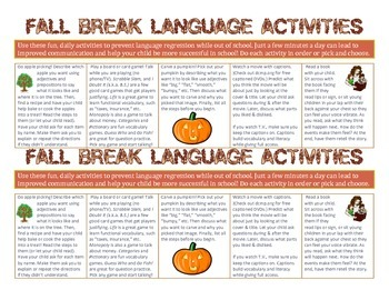 Fall Break At-Home Language Development Activities