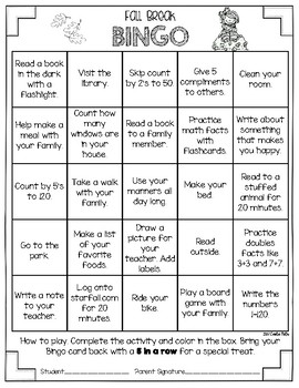 Fall Break Bingo