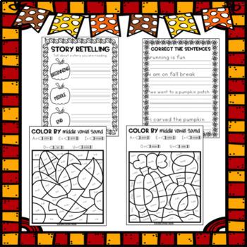 Fall Break Packet - First Grade
