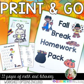 Fall Break Homework Pack {PRINT AND GO} - extra practice / morning work