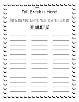 Fall Break Making Words