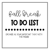 Fall Break To Do List