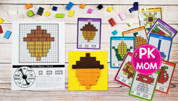 Fall Brick Building Mats & Task Cards: Math & Reading Activities