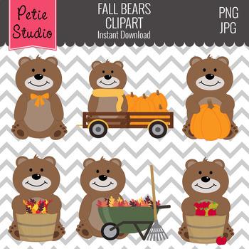 Fall Brown Bear Clipart, Teddy Bear Clipart, Woodland Clipart - Fall137