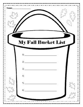 Fall Bucket List Writing Activity