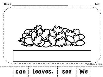 Fall Build a Sentence (Kindergarten Sight Word Packet)