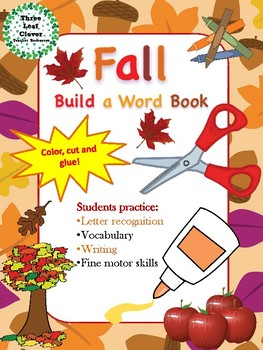 Fall - Autumn - Build a Word Book - Color, Cut and Glue Activity