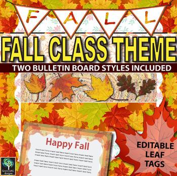 Fall bulletin borders, editable tags, banner, & sign