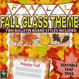 Fall bulletin board - leaf name tags, banner, & fall poste