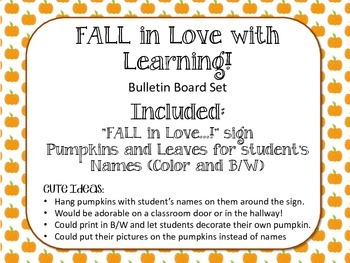 Fall Bulletin Board Set. Pumpkins. Leaves.  FALL in Love with Learning.