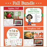 Fall Bundle - Apple Unit, Pumpkin Unit, Fall Literacy & Math, Fall Word Searches