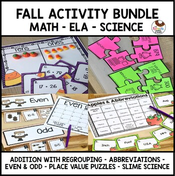 Fall Bundle- Place Value, Abbreviations, Slime Science, Addition, Even & Odd
