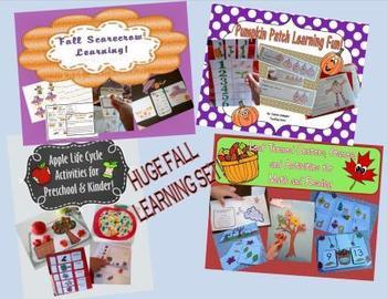 Fall Bundle - Pumpkins, Leaves, Apples, and Scarecrows Preschool Kindergarten