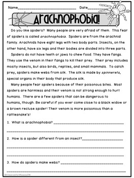 Fall Reading Passages with Comprehension Questions