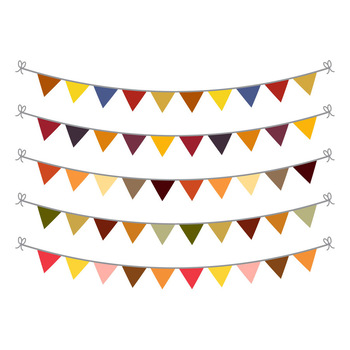 Fall Bunting Clipart, Bunting Banner Clipart, Autumn Bunting SVG, Garland