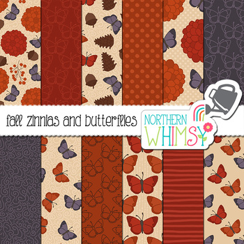Fall Butterflies and Flowers Digital Paper for Crafts and Classroom Decor