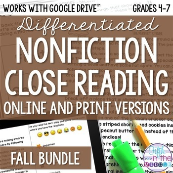 Fall COMBO Differentiated Nonfiction Close Reading Texts and Questions Bundle