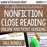 Fall COMBO Differentiated Nonfiction Close Reading Texts a