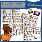 """Fall CVC """"A"""" Words Clip Cards"""