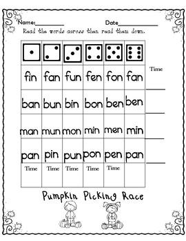 Fall CVC  Reading Fluency Activities ( Dyslexia/RTI)