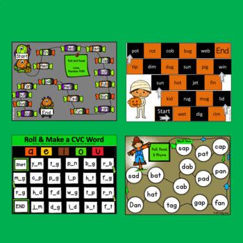 Fall CVC Roll & Read Board Games (phonics, short vowels, a, e, i, o u)