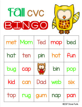 Fall CVC Words BINGO - Owls - 30 Cards Great for Halloween or Thanksgiving