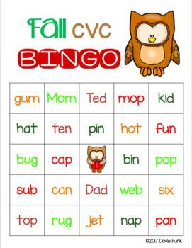 Thanksgiving Activities - Fall CVC Words BINGO - Owls - 30 Cards